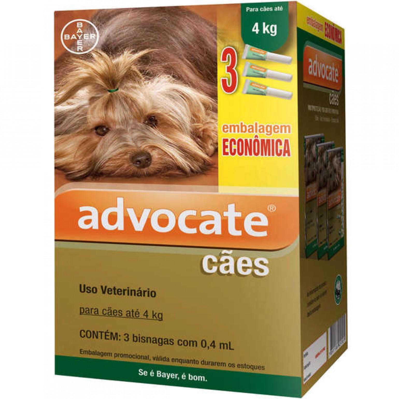 Antipulgas Advocate Cães até 4kg 0,4ml 3 Bisnagas Bayer