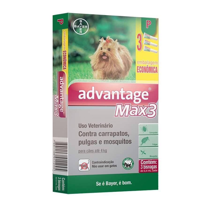 Antipulgas e Carrapatos Advantage Max3 Cães até 4kg Combo 0,4ml Bayer