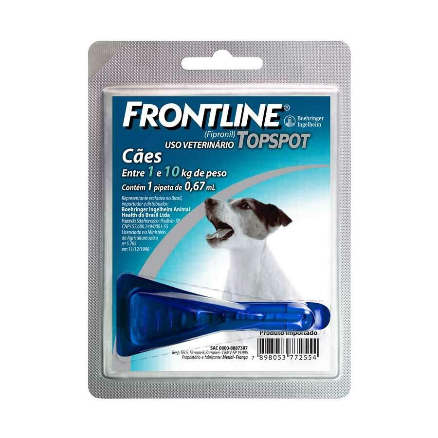 Antipulgas e Carrapatos Frontline TopSpot Cães Pequenos 1 a 10kg 0,67ml 1 Pipeta