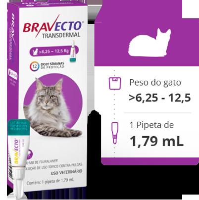 Antipulgas e Carrapatos MSD Bravecto Transdermal Gatos de 6,25 a 12,5 Kg