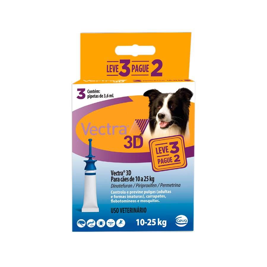 Antipulgas e Carrapatos Vectra 3D Cães 10 a 25kg Ceva 3 Pipetas