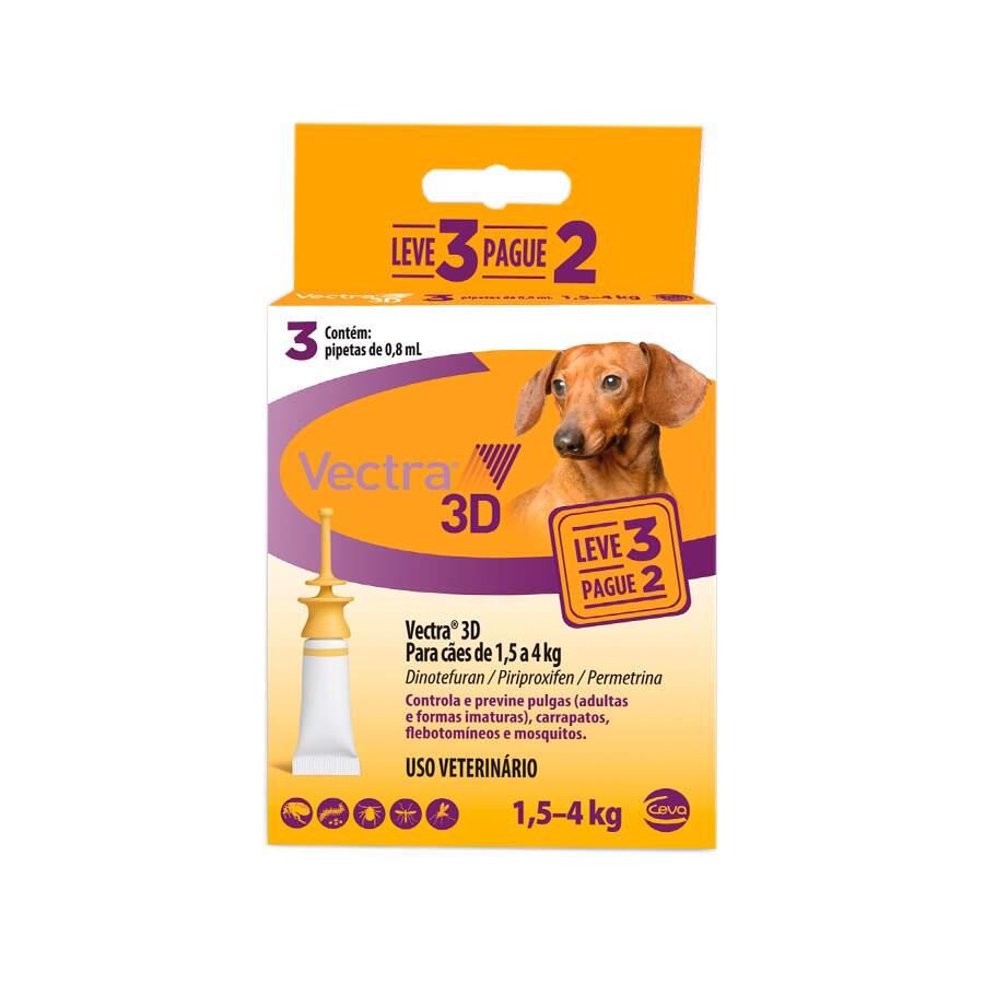 Antipulgas e Carrapatos Vectra 3D Cães 1,5 a 4kg Ceva 3 Pipetas
