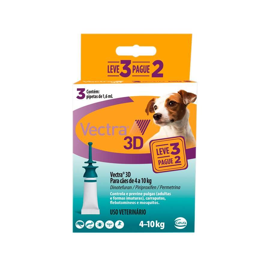 Antipulgas e Carrapatos Vectra 3D Cães 4 a 10kg Ceva 3 Pipetas