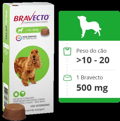 Bravecto Antipulgas e Carrapatos MSD Comprimido para Cães de 10kg a 20 Kg