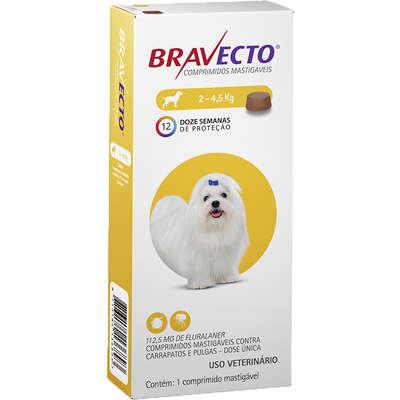 Bravecto Antipulgas e Carrapatos MSD Comprimido para Cães de 2 a 4,5 Kg