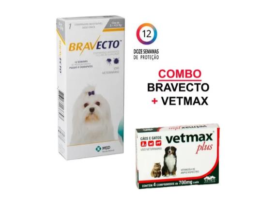 Combo Bravecto Até 4,5kg + Vermífugo Vetmax Plus - 4 Comprimidos