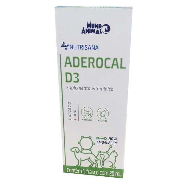 NUTRISANA ADEROCAL D3 SUPLEMENTO CÃES E GATOS 20 ML - MUNDO ANIMAL
