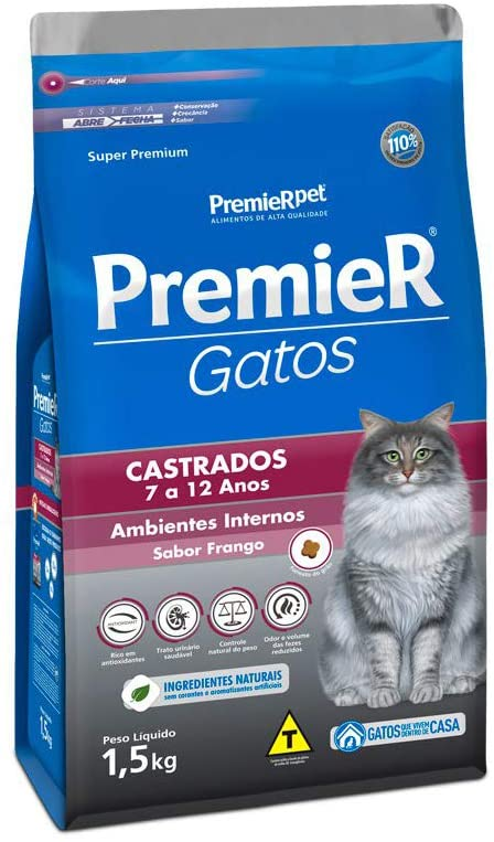 PREMIER AMBIENTES INTERNOS GATOS ADULTOS CASTRADOS 7 A 12 ANOS