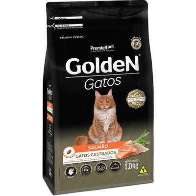 Ração Seca Golden Salmão para Gatos Adultos Castrados
