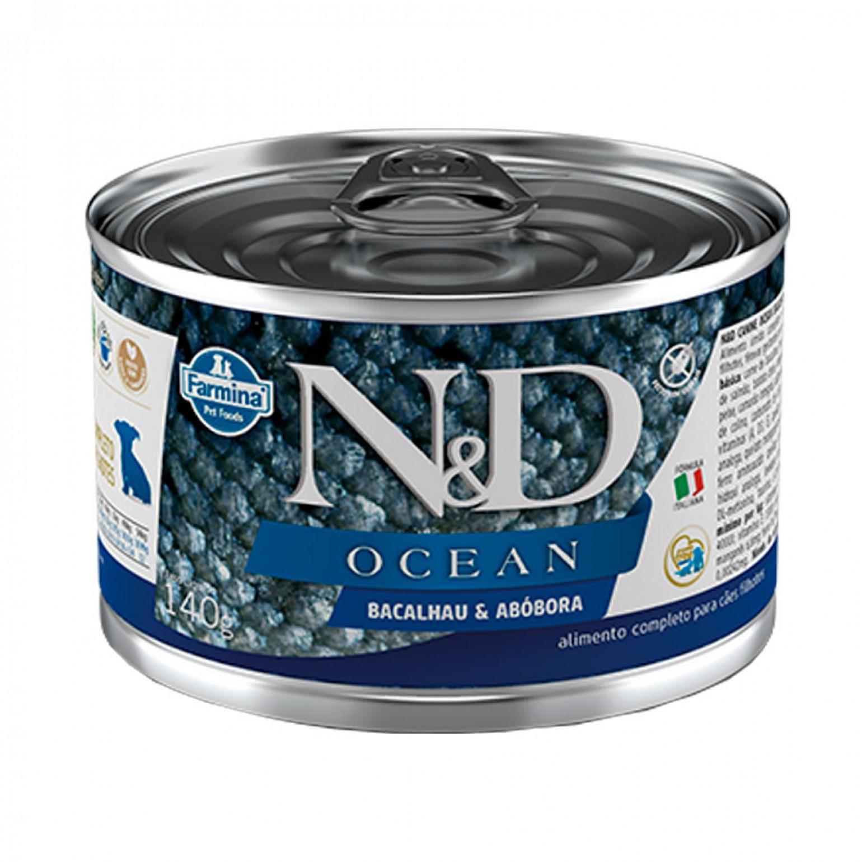 Ração  Úmida ND Lata Para Cães Filhotes Ocean Bacalhau e Abobora 140G
