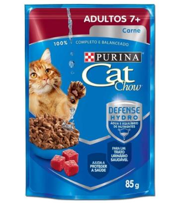 Sachê Cat Chow Adulto Senior 7+ Carne Ao Molho 85g Kit C/12
