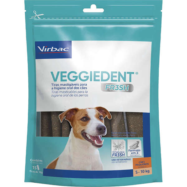 Tiras Mastigáveis Virbac VEGGIEDENT FR3SH para Cães de 5 a 10 Kg
