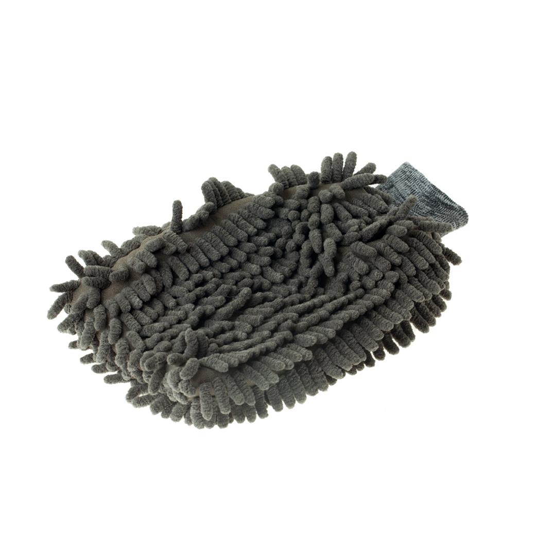 Mandala Luva de Microfibra Chenille Cinza