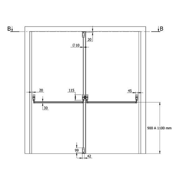 Barra Antipânico Push Dupla Horizontal/Vertical - Preta