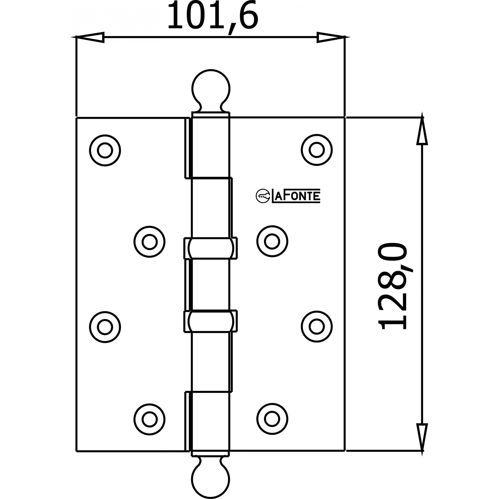 DOBRADICA 80 CROMO ESCOVADO COM ANEL 5,0 X 4,0