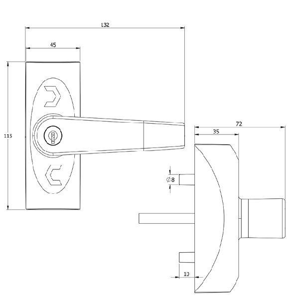 Fechadura de Acesso Ext P/Barra – Cinza