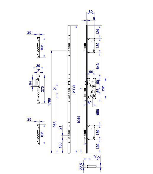 Fechadura de Segurança 03 pontos - Rolete - 12 pinos - Keso Volper
