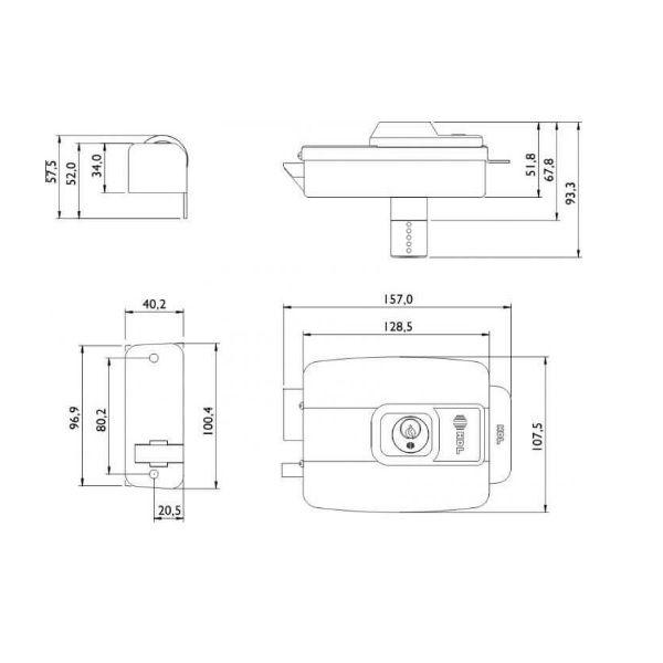 Fechadura Elétrica HDL C-90 AF Dupla Cinza Abre P/ Dentro