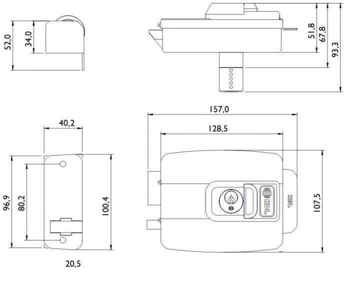 Fechadura Elétrica HDL C-90 Dupla Cinza C/ Botão Abre P/ Dentro
