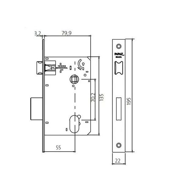 Fechadura InoxVita Plena MI 680 - Banheiro - Cromo Acetinado