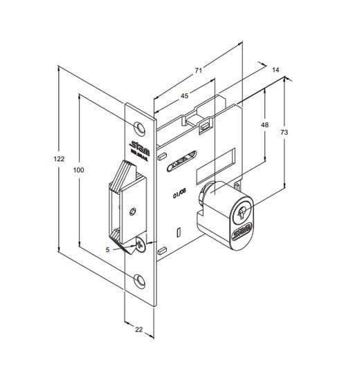 Fechadura Stam Porta de Correr/Bater 1006 Escovado Quadrada