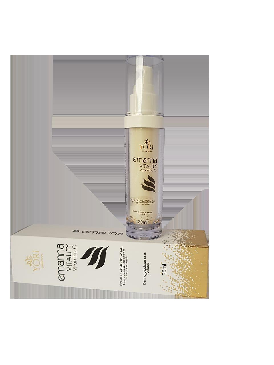 Vitamina C, Clareador Facial, Combate as Manchas na Pele, Reduz os Melasmas Emanna Vitality Vitamina C com Nanotecnologia