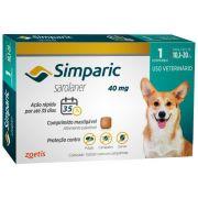 Antipulgas Zoetis Simparic  40 mg para Cães 10,1 a 20 Kg - 1 Comprimido