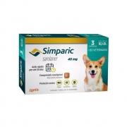Antipulgas e Carrapatos Simparic 40mg para Caes 10,1 a 20 Kg - 3 Comprimidos