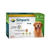 Antipulgas e Carrapatos Simparic 80mg para Cães 20 a 40Kg - 3 Comprimidos
