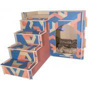 Casa e Toca para Gato com Escada, Almofada e Arranhador - Abstrato