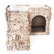 Casa e Toca para Gato com Escada, Almofada e Arranhador - Vinho