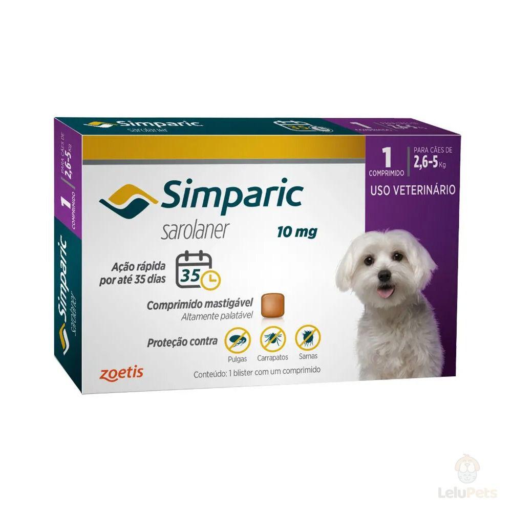Antipulgas Zoetis Simparic 10mg para Cães 2,6 a 5Kg - 1 Comprimido