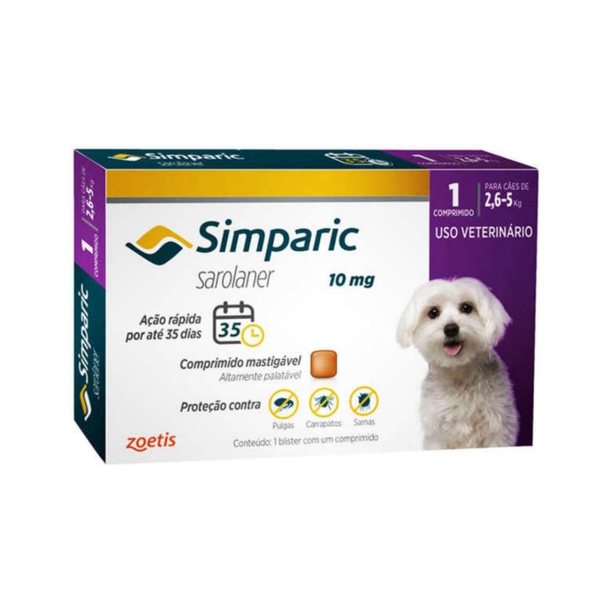 Antipulgas e Carrapatos Simparic 10mg para Cães 2,6 a 5Kg - 1 Comprimido