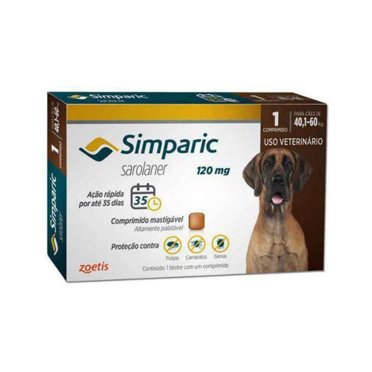 Antipulgas e Carrapatos Simparic 120mg para Caes 40 a 60 Kg - 1 Comprimidos