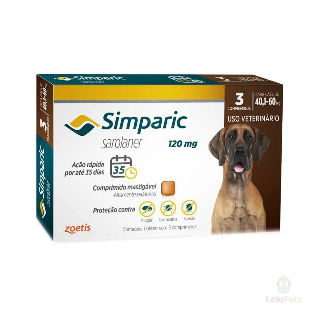 Antipulgas Zoetis Simparic 120mg para Cães 40 a 60 Kg - 3 Comprimidos