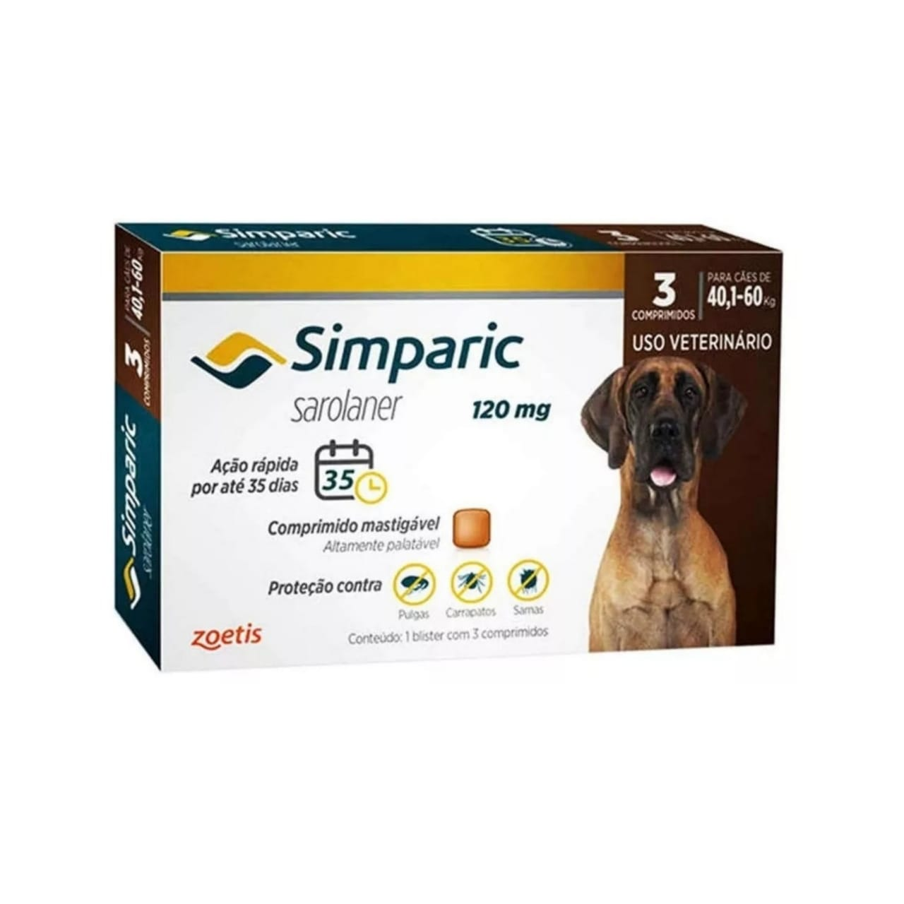 Antipulgas e Carrapatos Simparic 120mg para Caes 40 a 60 Kg - 3 Comprimidos