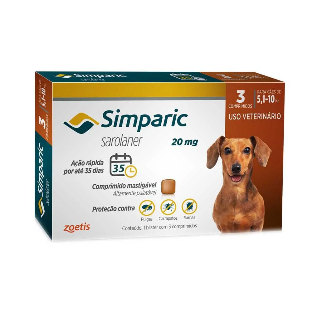 Antipulgas Zoetis Simparic20mg para Cães 5 a 10 Kg - 3 Comprimidos