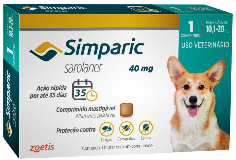 Antipulgas Zoetis Simparic40 mg para Cães 10,1 a 20 Kg - 1 Comprimido