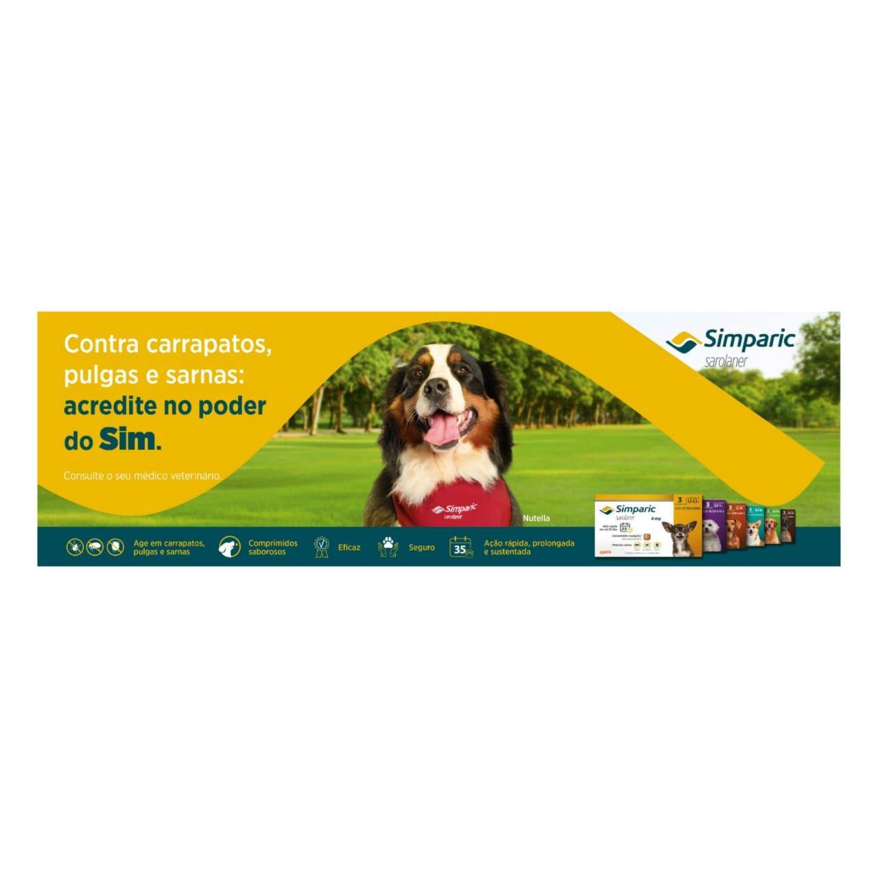 Antipulgas Zoetis Simparic 40mg para Cães 10,1 a 20 Kg - 3 Comprimidos