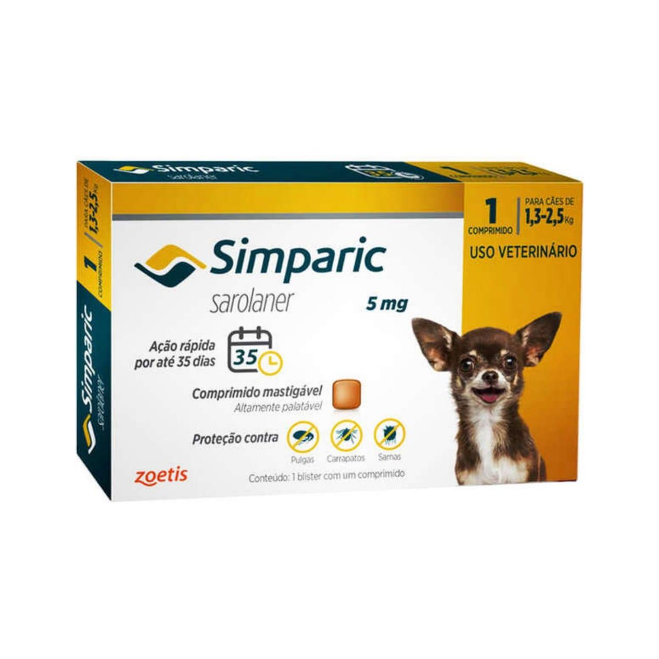 Antipulgas e Carrapatos Simparic 5mg para Cães 1,3 a 2,5 Kg - 1 Comprimido