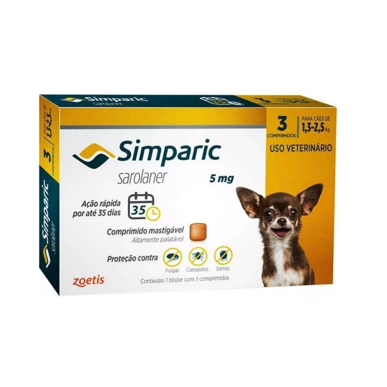 Antipulgas e Carrapatos Simparic 5mg 1,3 a 2,5 Kg - 3 Comprimidos
