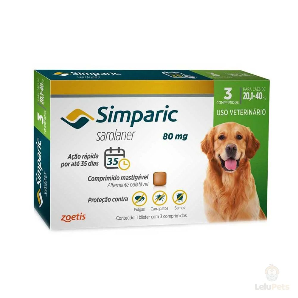 Antipulgas Zoetis Simparic80mg para Cães 20 a 40Kg - 3 Comprimidos