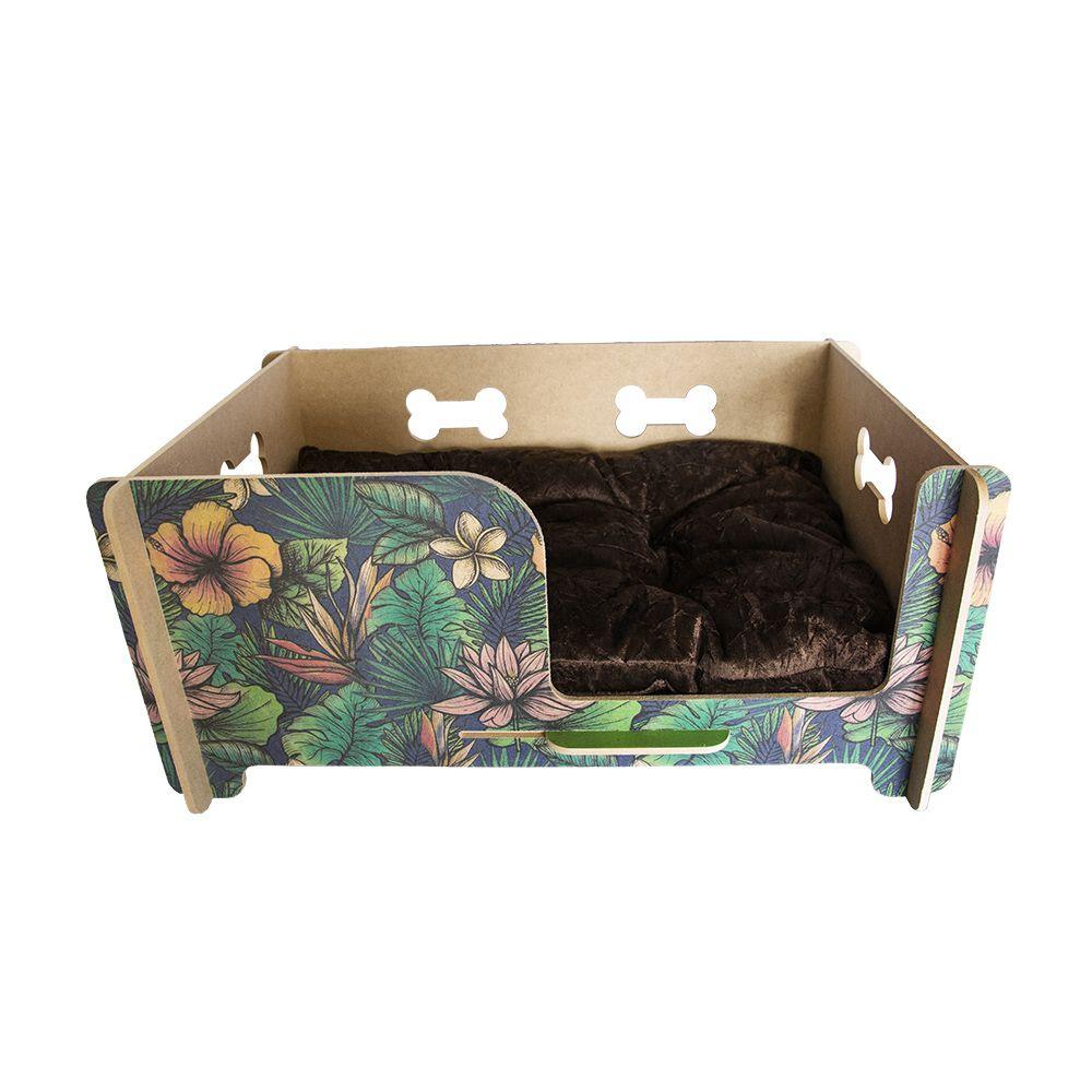Cama Berço para Cachorro com Almofada - Floral