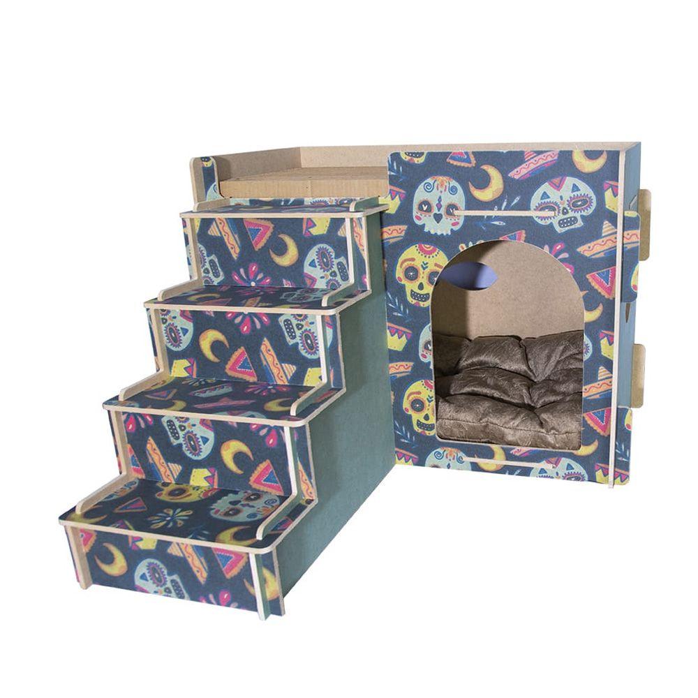 Casa e Toca para Gato com Escada, Almofada e Arranhador - Caveira