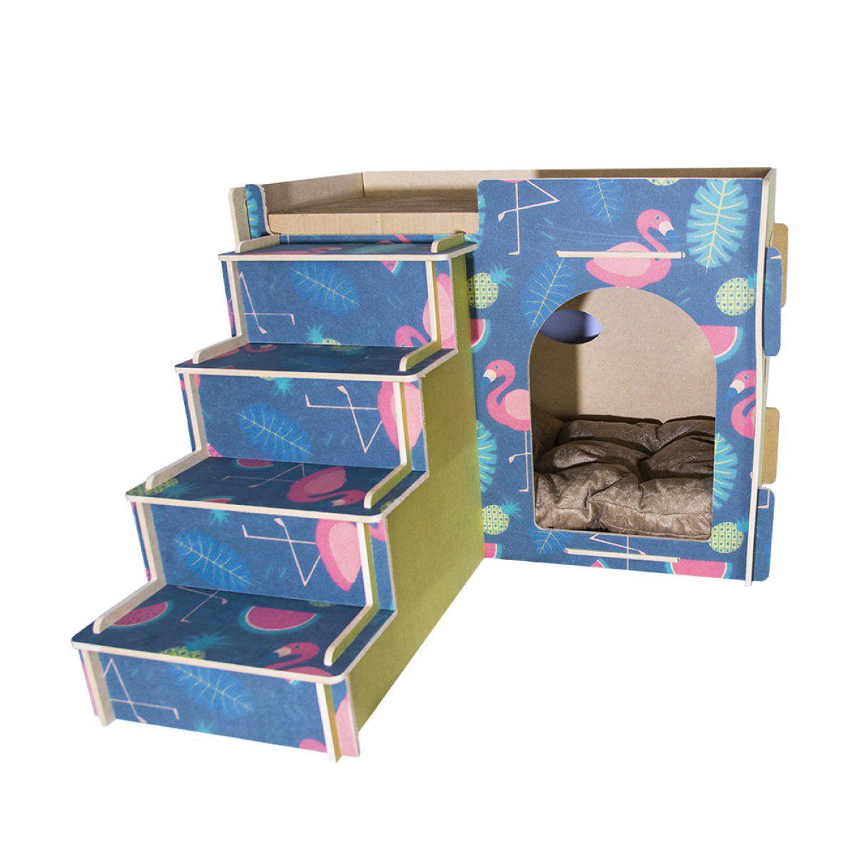 Casa e Toca para Gato com Escada, Almofada e Arranhador - Flamingo