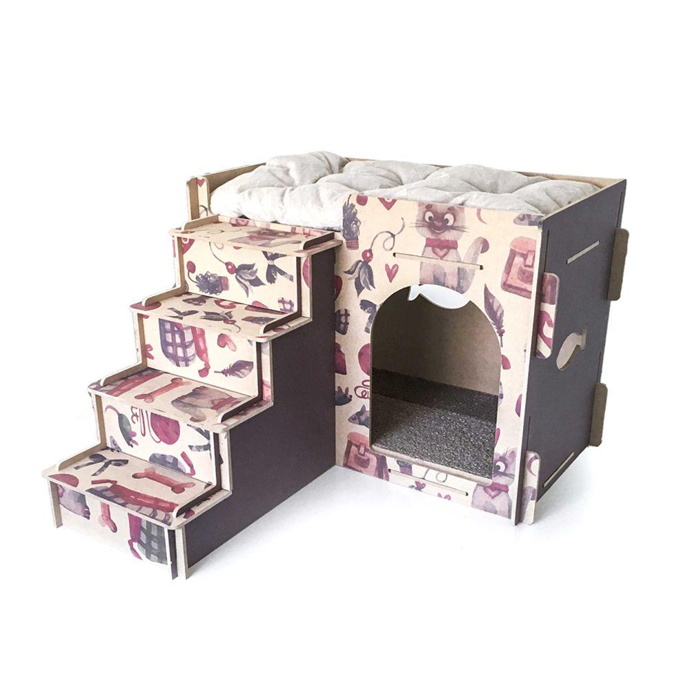 Casa e Toca para Gato com Escada, Almofada e Arranhador - Roxo