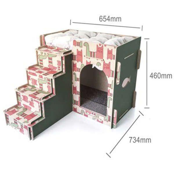 Casa e Toca para Gato com Escada, Almofada e Arranhador - Verde