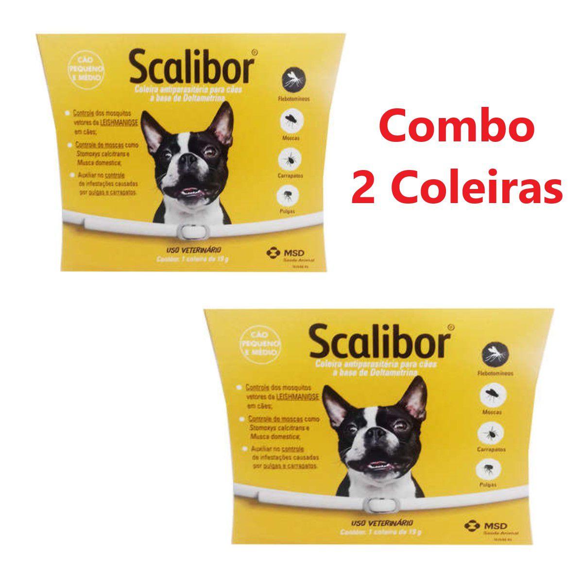 Combo 2 Coleiras Scalibor Leishmaniose Antipulgas - Pequena/Medio 48cm