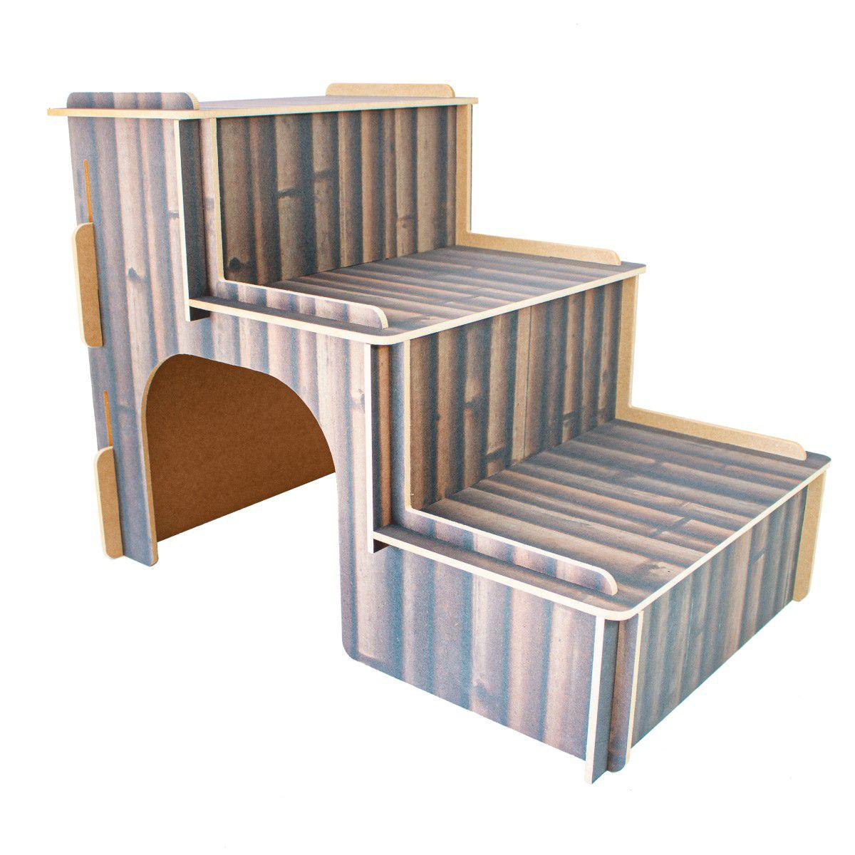 Escada MDF Para Cachorro e Gatos - Bambu