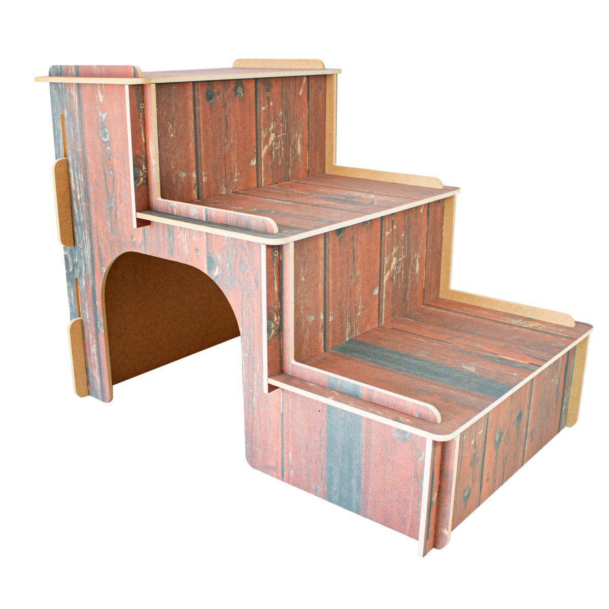 Escada MDF Para Cachorro e Gatos - Madeira Envelhecida